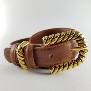 Accessories - Gold buckle brown cowhide belt size small